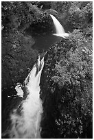 Oheo stream double falls. Haleakala National Park ( black and white)