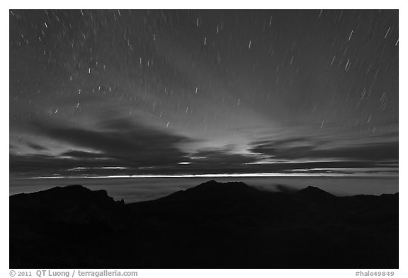 Crater ridge and stars in motion at night. Haleakala National Park (black and white)