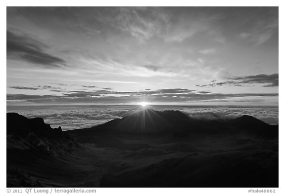 Sun rising, Haleakala Crater. Haleakala National Park (black and white)