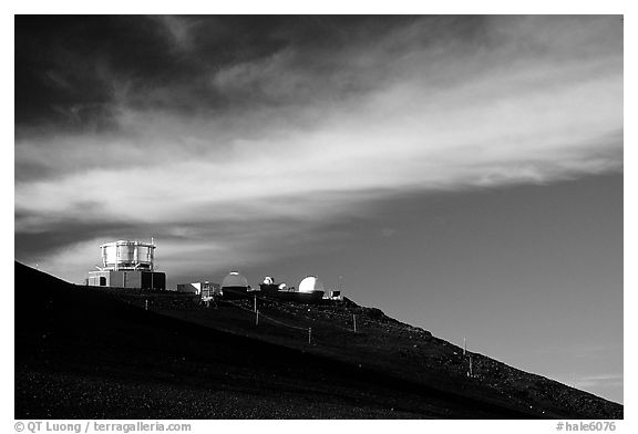 Observatory atop Red Hill. Haleakala National Park (black and white)
