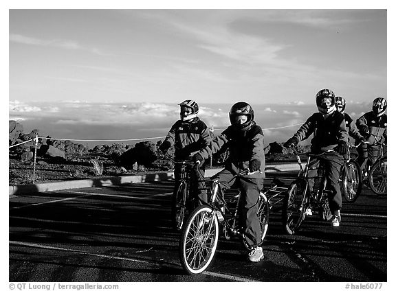 Getting ready to ride bicycles down from the top of the Crater to sea level. Haleakala National Park (black and white)