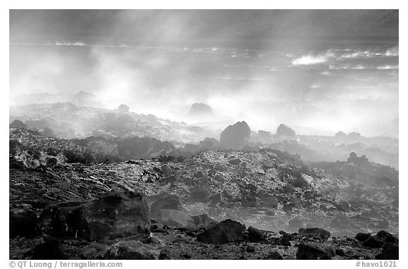 Fumeroles and hardened lava, early morning. Hawaii Volcanoes National Park (black and white)