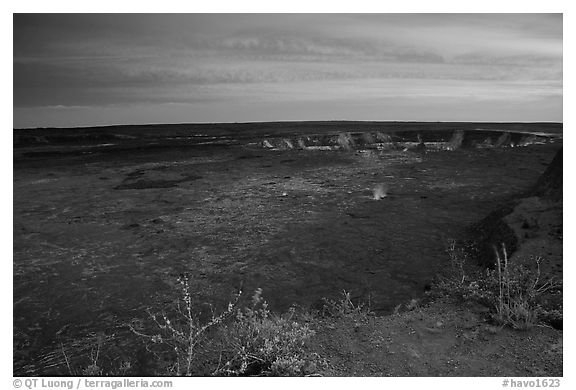 Kilauea caldera at sunset. Hawaii Volcanoes National Park (black and white)