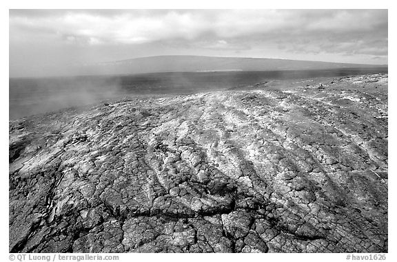 Unstable lava crust on Mauna Ulu crater. Hawaii Volcanoes National Park (black and white)
