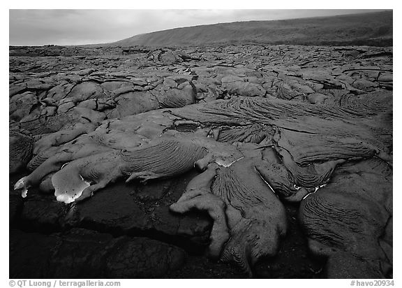 Field of lava flowing at dusk near end of Chain of Craters road. Hawaii Volcanoes National Park (black and white)