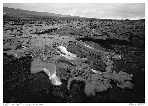 Molten lava flow near Chain of Craters Road. Hawaii Volcanoes National Park (black and white)