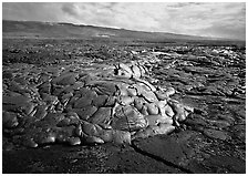 Freshly cooled lava on plain. Hawaii Volcanoes National Park, Hawaii, USA. (black and white)