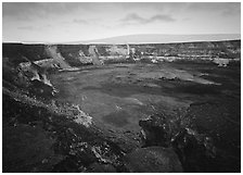 Halemaumau crater, fumeroles, Mauna Loa shield volcano, sunrise. Hawaii Volcanoes National Park ( black and white)