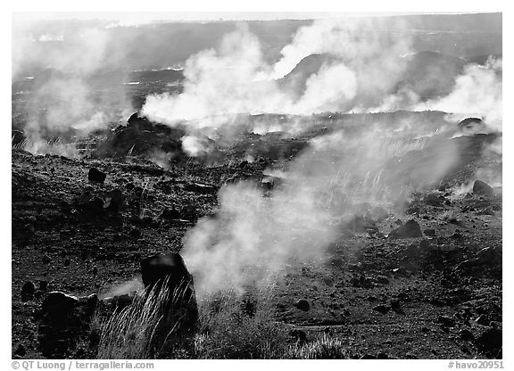 Fumeroles on the rim of Halemaumau crater. Hawaii Volcanoes National Park (black and white)
