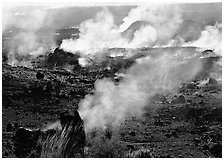 Fumeroles on the rim of Halemaumau crater. Hawaii Volcanoes National Park ( black and white)