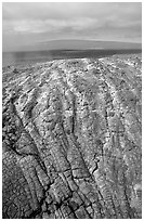 Recent lava crust on Mauna Ulu crater. Hawaii Volcanoes National Park ( black and white)