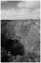 Mauna Ulu crater. Hawaii Volcanoes National Park, Hawaii, USA. (black and white)