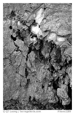 Lava crust on Mauna Ulu crater. Hawaii Volcanoes National Park (black and white)
