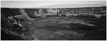 Volcanic crater and extinct shield volcano. Hawaii Volcanoes National Park (Panoramic black and white)