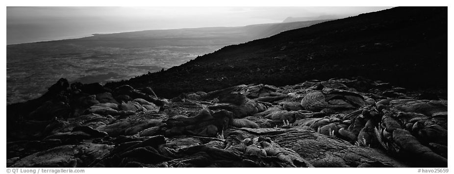 Hardened lava flow overlooking coastal plain, late afternoon. Hawaii Volcanoes National Park (black and white)