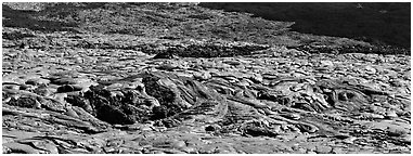 Slope covered with hardened lava flow. Hawaii Volcanoes National Park (Panoramic black and white)
