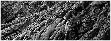 Detail of hardened lava flow. Hawaii Volcanoes National Park (Panoramic black and white)