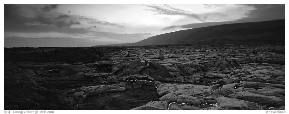 Landscape with red lava flow at sunset. Hawaii Volcanoes National Park (black and white)