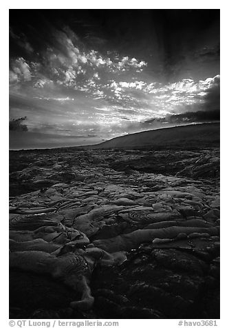 Live lava flow on coastal plain sunset. Hawaii Volcanoes National Park (black and white)