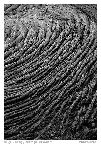 Circular ripples of flowing pahoehoe lava. Hawaii Volcanoes National Park (black and white)