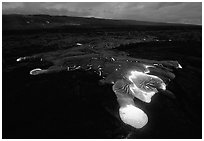 Kilauea lava flow at dawn. Hawaii Volcanoes National Park ( black and white)