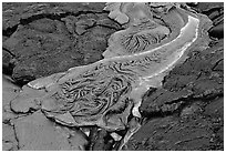 Molten Lava flowing. Hawaii Volcanoes National Park, Hawaii, USA. (black and white)