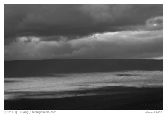 Light, shadows and clouds over Mauna Loa summit. Hawaii Volcanoes National Park (black and white)