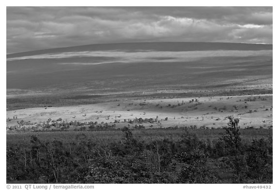 Layered landscape, Mauna Loa. Hawaii Volcanoes National Park (black and white)