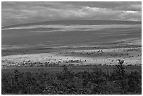 Layered landscape, Mauna Loa. Hawaii Volcanoes National Park ( black and white)