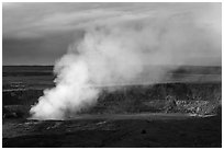 Sulfur dioxide plume shooting from vent, Halemaumau crater. Hawaii Volcanoes National Park, Hawaii, USA. (black and white)