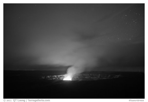 Vog plume and stars at dusk, Kilauea summit. Hawaii Volcanoes National Park (black and white)