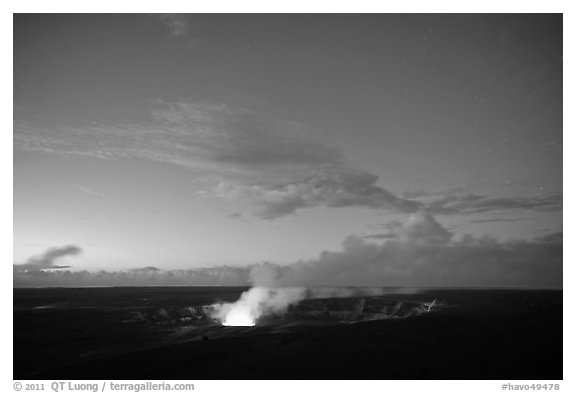 Kilauea Volcano glow from vent. Hawaii Volcanoes National Park (black and white)