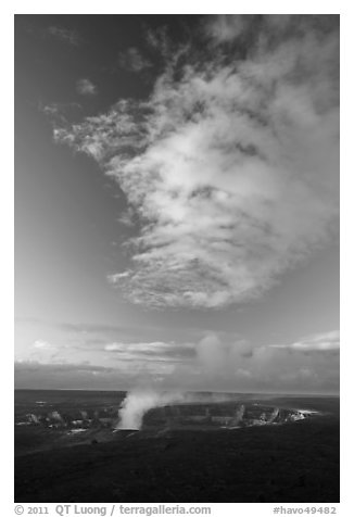Halemaumau crater smoke and cloud at sunrise, Kilauea. Hawaii Volcanoes National Park (black and white)