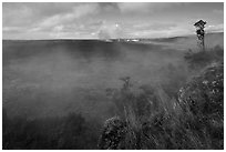 Steam from vents at the edge of Kilauea caldera. Hawaii Volcanoes National Park, Hawaii, USA. (black and white)