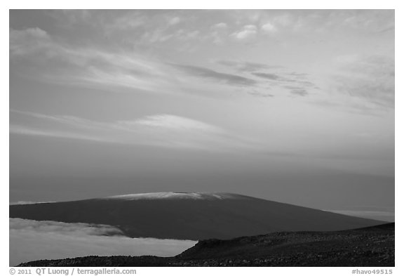 Mauna Loa at dawn. Hawaii Volcanoes National Park (black and white)