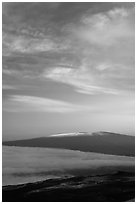 Snowcapped Mauna Loa at sunrise. Hawaii Volcanoes National Park, Hawaii, USA. (black and white)