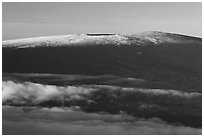 Snow on Mauna Loa summit. Hawaii Volcanoes National Park ( black and white)