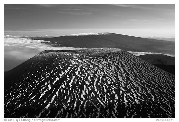 Cinder cone and Mauna Loa. Hawaii Volcanoes National Park (black and white)