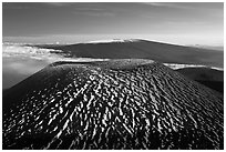 Cinder cone and Mauna Loa. Hawaii Volcanoes National Park, Hawaii, USA. (black and white)