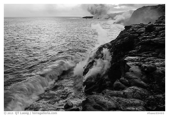 Coastline with lava entering ocean. Hawaii Volcanoes National Park (black and white)