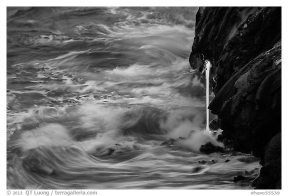 Waves and lava spigot. Hawaii Volcanoes National Park (black and white)