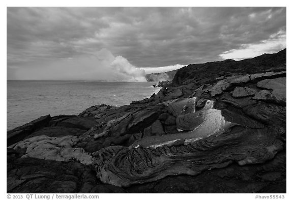 Surface lava flow on the coast. Hawaii Volcanoes National Park (black and white)
