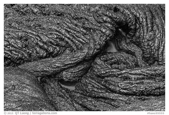Silvery new lava with glow underneath. Hawaii Volcanoes National Park (black and white)