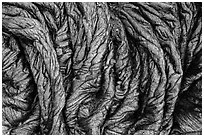 Freshly hardened pahoehoe lava. Hawaii Volcanoes National Park, Hawaii, USA. (black and white)