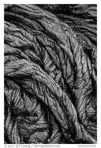Recently hardened pahoehoe lava. Hawaii Volcanoes National Park (black and white)