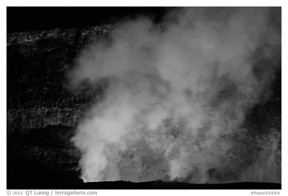 Halemaumau plume and crater walls lit by lava lake. Hawaii Volcanoes National Park (black and white)