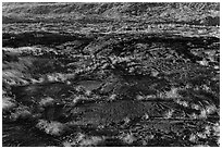 Petroglyphs created on the lava substrate. Hawaii Volcanoes National Park, Hawaii, USA. (black and white)