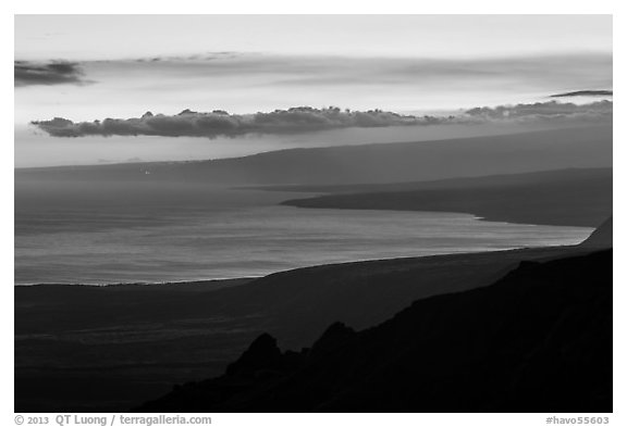 Coastal plain, bay, and Mauna Loa flank at sunset. Hawaii Volcanoes National Park (black and white)