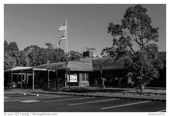 Visitor center. Hawaii Volcanoes National Park (black and white)
