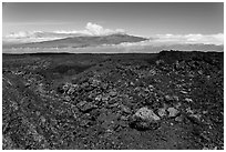 Vein of red and orange lava on Mauna Loa, Mauna Kea in background. Hawaii Volcanoes National Park, Hawaii, USA. (black and white)